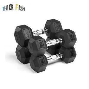 Wholesale 1pcs Hexagonal rubberized dumbbell gym dedicated fixed dumbbell men's fitness training arm muscle good quality 5kg