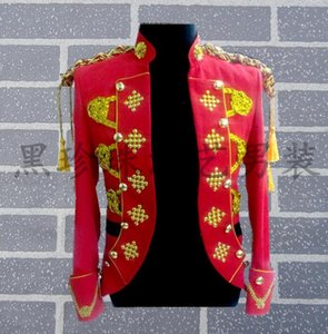 Wholesale Red Men Suits Designs Royal Cosplay Stage Costumes For Singers Men Sequin Blazer Dance Clothes Jacket Style Dress Rock New