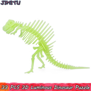 Wholesale 3D Luminous Dinosaur Model Puzzle Toys for Children Interactive Educational Jigsaw Toy Fantastic Gifts Shine Home Party Decorations