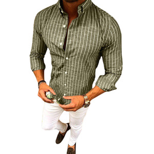 Wholesale New Mens Shirts Slim Fit Striped Muscle Top Long Sleeve Plain Dress New Fashion Hadsome Apricot Young Smart Casual Shirts