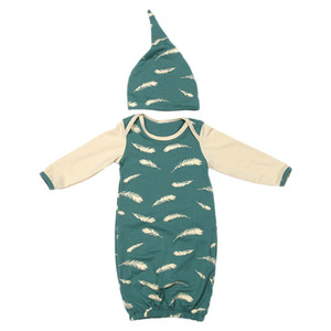 Wholesale Baby Foot Cover Sleeping Bag Newborn Sleeping Bag Feather Print Green Baby Sleep Gown Sleep Sack With Sleeve Hat