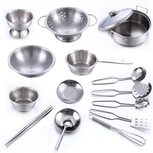 Wholesale 16 Stainless Steel Pretend Play Kitchen Toys Mini Model Kitchenware Cookware Cooking Toys Children Kids Pot Pan Brinquedo