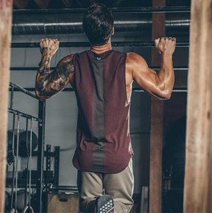 Wholesale 2019 Summer Newest Brand Mens Curved Hem Patchwork Gyms Stringers Vest HIgh Quailty Bodybuilding Clothing Fitness Man Tanks Tops