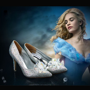Princess Cosplay Cinderella Shoes Sparkly Bling Rhinestone High Heels Women Crystal Shoes 9.5cm 7.5cm Bridal Shoes