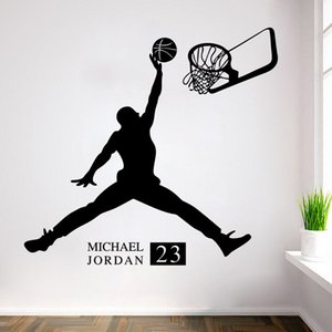 Wholesale Playing Basketball Wall Stickers Waterproof Self adhesive PVC Wallpapers Can Be Removable Arts Murals Boy Bedroom Decor