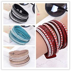 Wholesale Women Crystal Rhinestone Slake Deluxe Leather Wrap Wristband Cuff Punk Bracelet Bangles Fit Party Best Gift colors