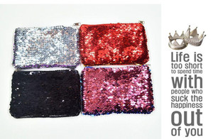 Wholesale Women Coin Purse Sequin Zipper Change Purse Kids Girl Women Bling Coin Bag Card Holder Mini Wallet Cosmetic Bags
