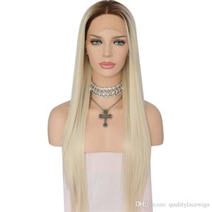 Wholesale Ombre High Temperature Fiber Glueless Brown Roots To Light Blond Silky Straight Heat Resistant Daily Synthetic Front Lace Wig with Baby Hair