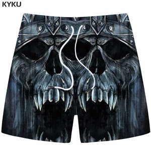 Wholesale KYKU Skull Shorts Men Gray Cargo Shorts Casual Gothic Angry d Print Beach Fitness Mens Short Pants Summer Fitness