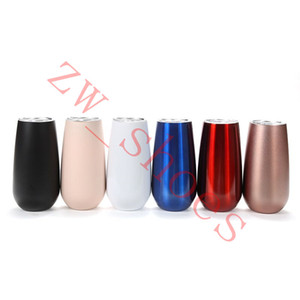 6oz Fluted Cup stainless steel 6oz Champagne Flutes Stemless wine glassess solid color with lid Double-insulated