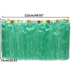 Wholesale Halloween Hawaiian Luau Flower Green Grass Table Skirt Outdoor Patio Garden Beach Party Camping Events Decoration Party Favor Supplies