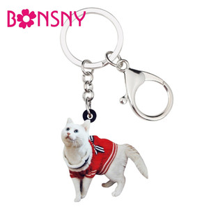Wholesale Acrylic Curious Sweater Cat Kitten Key Chains Keychains Rings Animal Jewelry For Women Girls Lady Handbag Charms Pendant