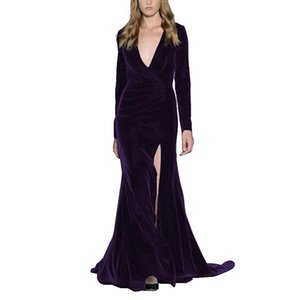 Women's Velvet Evening Gown Plunging Neckline Prom Dress mermaid dress Long Sleeve Party Gown robe de soiree evening dresses long on Sale