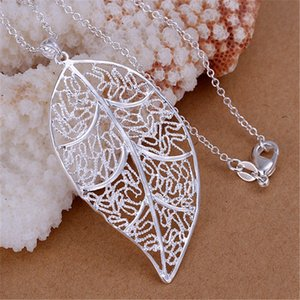 Wholesale whole salePromotions pr Beautiful fashion Elegant silver plated charm LEAF leave pendant Zircon Necklace jewelry