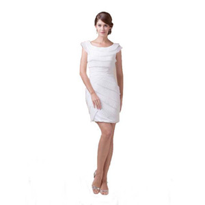 Wholesale Professional Design Women White Party Dress Scoop Neckline Cap Sleeve Wholesale Cocktail Dress Above Knee Length