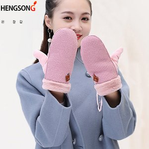 Wholesale New Lovely Suede Knitted Wool Women s Mittens Winter Gloves Female Velvet Thick Warm Glove
