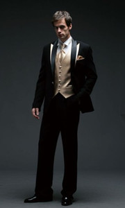 One Button Black Wedding Men Suits Three Piece Groom Tuxedos Slim Fit Men Party Suit Groomsmen Suits (Jacket+Pants+Vest+Tie) J846