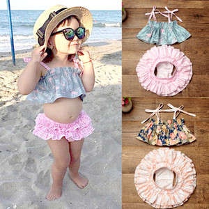 Wholesale 8 Style Baby girl Unicorn ins clothing sets summer Flamingo floral print kids cute tops ruffle tutu bloomers short set Years B001