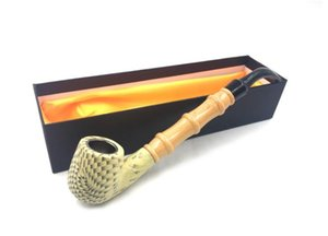 Wholesale Green Sandalwood pipe cigarette holder with long curved bucket handle bamboo filter pipe wooden smoking set