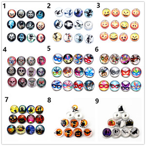 Fashion 60pcs lot Halloween style glass Snaps button Skull Jewelry 18mm ginger snap noosa chunk Fit Bracelet necklace ring Accessories gifts
