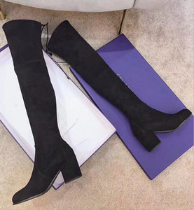 Wholesale High quality real leather over the knee boots thick bottom elastic high to help flat shoes SW black brown lace up