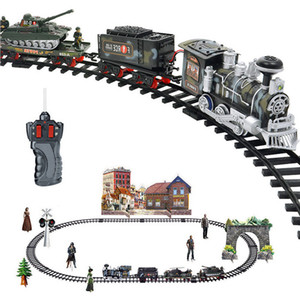 Wholesale 2018 Model Train Toy Railroad Railway Remote Control RC Track Train Car Electric Steam Smoke RC Christmas Train Set Model Toy Gift