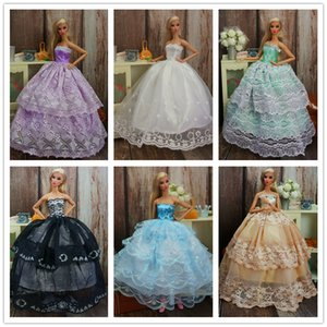 Wholesale 5Sets Princess Wedding Dress Noble Party Gown For Doll Fashion Design Outfit Best Gift For Girl Doll
