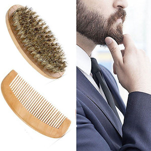New Hot Sale Boar Bristle Beard Brush and Handmade Beard Comb Kit for Men Mustache