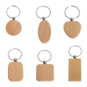 Wholesale Natural Wood bamboo wooden Key Ring Keychain Round Square Heart Shap Anti Lost Wood Accessories Gifts