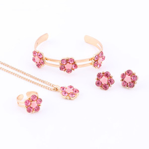 Wholesale babies bracelets gold for sale - Group buy Best Gift Gold Color Flower Pendant Necklace Bracelet Ring Earring Set Children s Gift Jewelry For Kid Baby