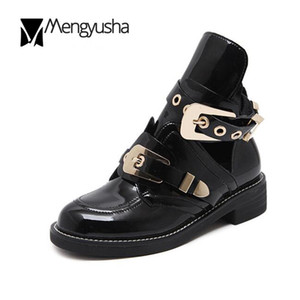 European famous brand woman boots buckle strap boots cut out ankle boot for woman metal buckle open Martin boats British style