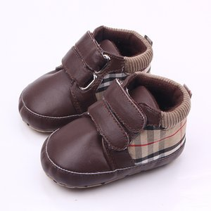 Wholesale Classic Children Baby Kids Boy Girl Floor Shoes Autumn Fashion PU Plaid Non Slip Soft Toddlers First Walkers