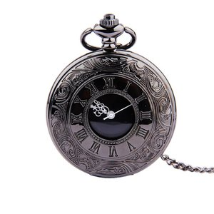 Wholesale Classical black Roman Scales Men And Women Casual Fashion Pocket Watch Retro Black Face Gold White Needle Nostalgic Pocket Watch
