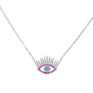 Wholesale 100 guarantee sterling silver jewelry red stone Turkish evil eye charm pendant necklace eye eyelash lucky jewelry