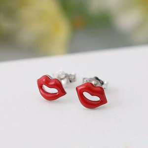 Wholesale Red Pink Enamel Sexy Lips Kiss Sterling Silver Stud Earrings