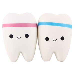 Wholesale 2018 Jumbo Squishy Tooth Slow Rising Kawaii Soft Squishies Squeeze Cute tooth Shape Soft Toy Cell Phone Strap Toys Kids Baby Gift DHL Free