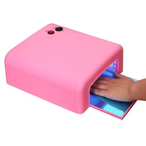 Wholesale Electric Nail Dryer W UV Lamp For Drying Nails Gel Polish Salon Curing Finger Feet Tube Light Lamps Nail Art Tool EU Plug Pink