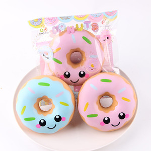 Donuts Squishy Toys Kawaii Smile Face Slow Rising Donut Jumbo Squeeze Phone Strap Stress Reliever Gift for Kids