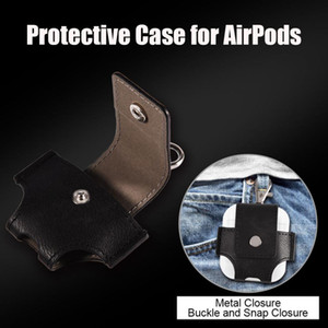 Wholesale for Airpods case PU Leather Case Protective Carrying Cover for Airpods Anti Lost Storage Pouch Bag Metal Clasp Keychain Design