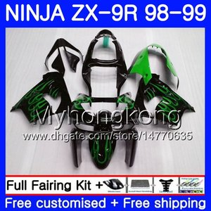 Body For KAWASAKI NINJA ZX900 ZX9 R ZX 900 ZX-9R 98 99 00 220HM.12 900CC ZX 9 R ZX9R 98 99 ZX 9R Green flames new 1998 1999 2000 Fairing kit