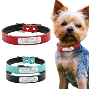 Wholesale Leather Personalized Dog Collars Custom Cat Pet Name ID Collar Free Engraving For Small Medium Dogs