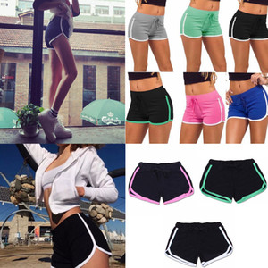 Women Summer beach Shorts solid Casual Yoga Gym Running Sport Fitness Short Pants Cotton Leisure Homewear FFA203 7colors 12PCS