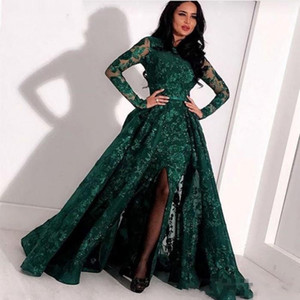Wholesale Hunter Green Mermaid Long Sleeve Prom Formal Dresses with Overskirt Jewel Neck Split Sexy Mermaid Full Lace Arabic Evening Gown