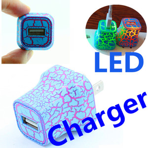LED single USB Wall Charger Cracking Design Lights UP 5V 1A AC Travel Family Charging Power Adapter Samsung htc Huawei Millet Universal
