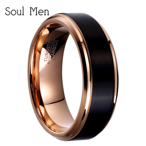 крутые кольца для девочек оптовых-8mm mm mm Black Rose Gold Men s Tungsten Carbide Wedding Band for Boy and Girl Friendship Ring Russian Women Cool Jewelry