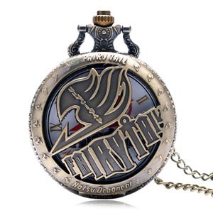 Retro Bronze Quartz Pocket Watch Anime Kids Japan Fashion Fairy Tail Natsu Dragneel Men Pendant Women Necklace Cartoon Gift