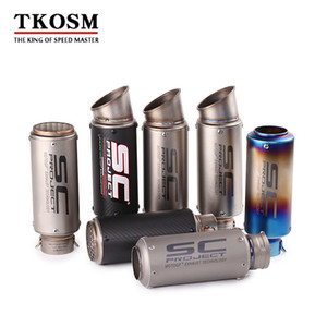 TKOSM-Universal Inlet 51mm 61mm Motorcycle Exhaust Pipe Muffler SC Carbon Fiber Motorbike Laser GP Muffler Exhaust Escape DB Killer on Sale