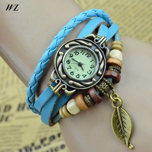 Wholesale 10pcs Wholesales Hot Sales Fashion colors Ladies Hand Knit Retro Women s Pu Leather Bracelet Watches