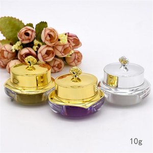 Wholesale 10g Acrylic Face Cream Jars Plastic Mask pot Imperial Crown Gold Empty Makeup Cream Bottle Jars for Women