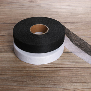 Wholesale 100meters cm Black White Wonder Web Iron On Hemming Tape Double faced Adhesive Fabric Roll Clothes Sewing Turn up Hem